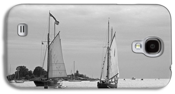 Tall Ships Galaxy S4 Cases - Tall Ships Sailing I in black and white Galaxy S4 Case by Suzanne Gaff