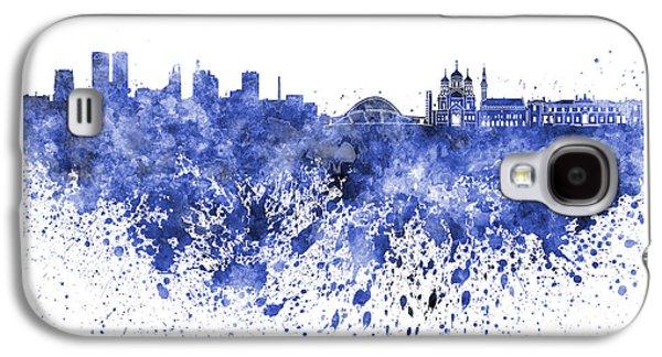 Tallinn Galaxy S4 Cases - Tallinn skyline in blue watercolor on white background Galaxy S4 Case by Pablo Romero