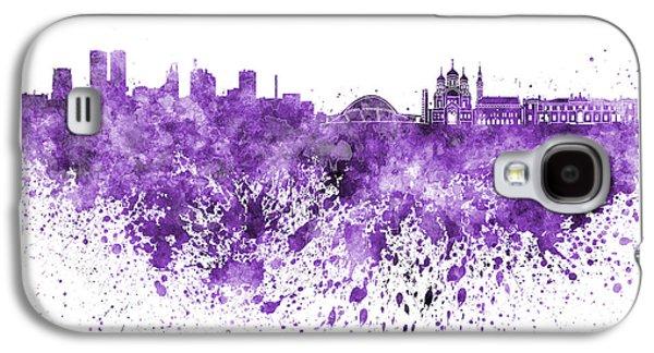 Tallinn Galaxy S4 Cases - Tallinn skyline in purple watercolor on white background Galaxy S4 Case by Pablo Romero