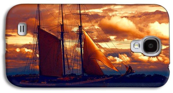 Turbulent Skies Digital Art Galaxy S4 Cases - Tallship - Moody Blues and Powerful Oranges Galaxy S4 Case by Georgia Mizuleva