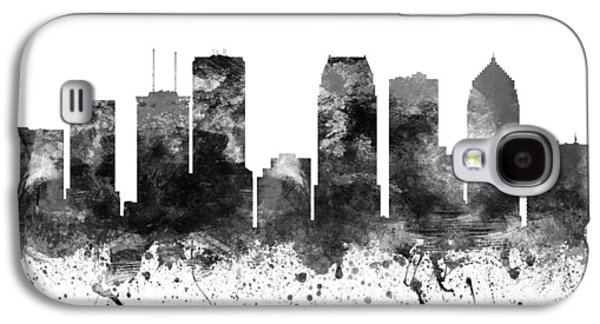 Skylines Drawings Galaxy S4 Cases - Tampa Florida Cityscape 02BW Galaxy S4 Case by Aged Pixel