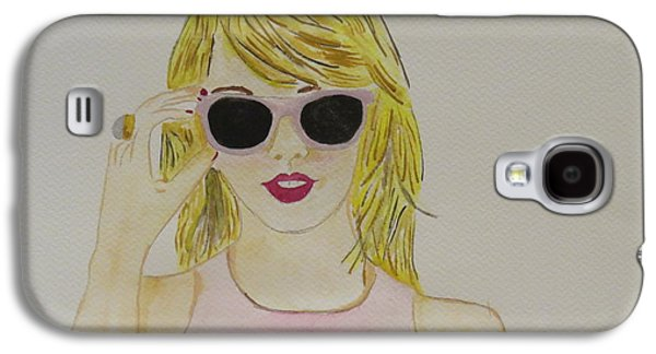 Taylor Swift Paintings Galaxy S4 Cases - Taylor Swift in pink Galaxy S4 Case by Valerie Parise