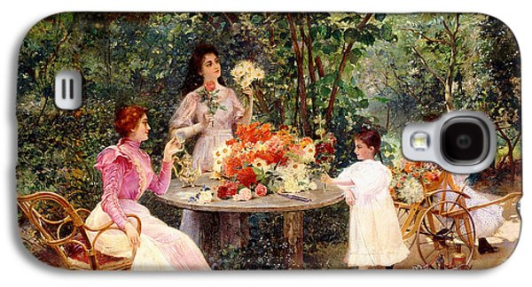 Teatime In The Garden Galaxy S4 Case by Edouard Frederic Wilhelm Richter
