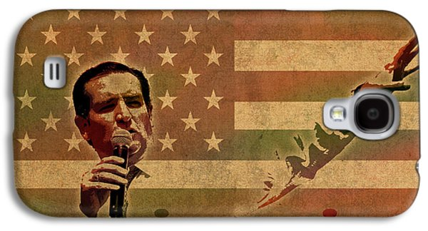 American Flag Mixed Media Galaxy S4 Cases - Ted Cruz for President Imagine Speech 2016 USA Watercolor Portrait on Distressed American Flag Galaxy S4 Case by Design Turnpike