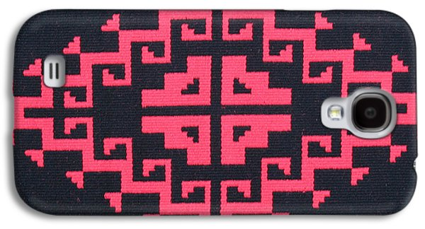 Indian Tapestries - Textiles Galaxy S4 Cases - Teotehuacan Black rug Galaxy S4 Case by Judy Hilbish