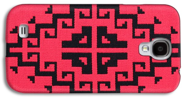 Indian Tapestries - Textiles Galaxy S4 Cases - Teotehuacan Red rug Galaxy S4 Case by Judy Hilbish
