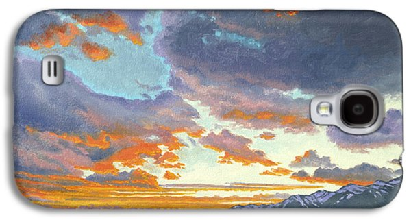 National Park Paintings Galaxy S4 Cases - Tetons-Looking South at Sunset Galaxy S4 Case by Paul Krapf
