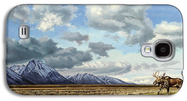 National Park Paintings Galaxy S4 Cases - Tetons-Moose Galaxy S4 Case by Paul Krapf