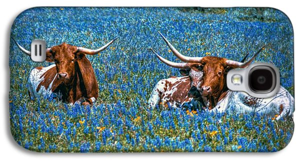 Cow Digital Galaxy S4 Cases - Texas in Blue Galaxy S4 Case by Linda Unger