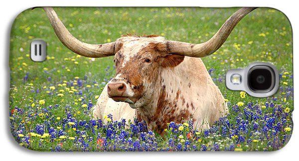 Best Sellers -  - Landscapes Photographs Galaxy S4 Cases - Texas Longhorn in Bluebonnets Galaxy S4 Case by Jon Holiday