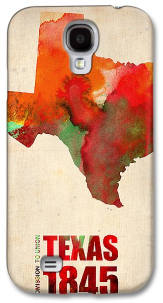 Modern Digital Art Galaxy S4 Cases - Texas Watercolor Map Galaxy S4 Case by Naxart Studio