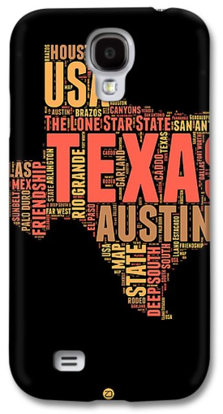 4th July Galaxy S4 Cases - Texas Word Cloud 1 Galaxy S4 Case by Naxart Studio