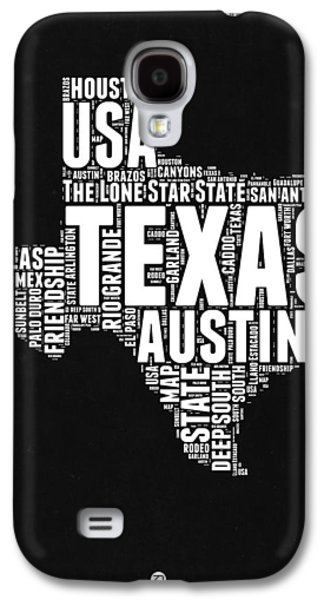 Texas Word Cloud Black And White Map Galaxy S4 Case by Naxart Studio