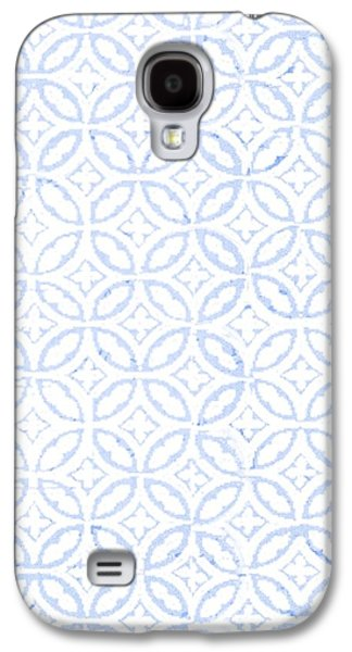Textured Blue Diamond And Oval Pattern Galaxy S4 Case by Gillham Studios