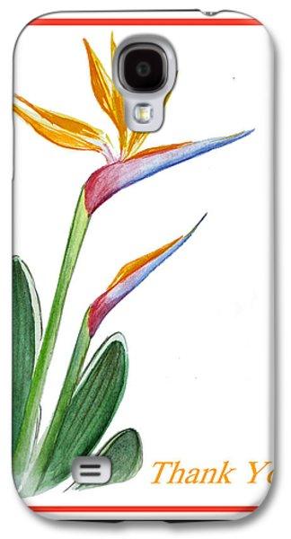 Receive Paintings Galaxy S4 Cases - Thank You Bird Of Paradise Galaxy S4 Case by Irina Sztukowski