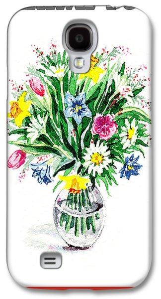 Receive Paintings Galaxy S4 Cases - Thank You Flower Bouquet Galaxy S4 Case by Irina Sztukowski