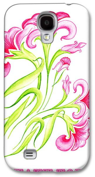 Receive Paintings Galaxy S4 Cases - Thank You Pink Flowers Galaxy S4 Case by Irina Sztukowski