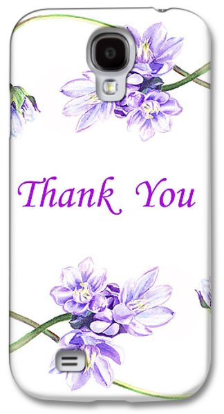 Receive Paintings Galaxy S4 Cases - Thank You Purple Flowers Galaxy S4 Case by Irina Sztukowski