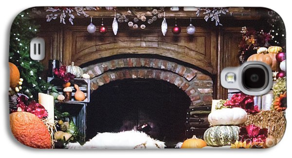 Thanksgiving Holiday Fireplace With Dog Galaxy S4 Case by Linda Phelps