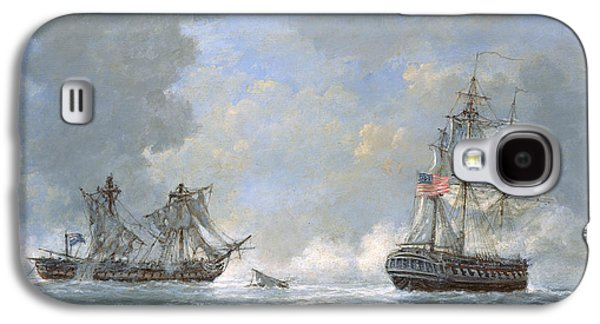 Stars And Stripes Paintings Galaxy S4 Cases - The action between US Frigate United States and the British frigate Macedonian Galaxy S4 Case by Richard Willis