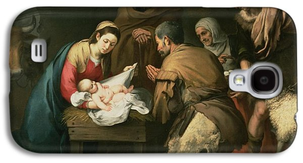 Manger Galaxy S4 Cases - The Adoration of the Shepherds Galaxy S4 Case by Bartolome Esteban Murillo