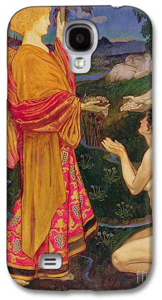Religious Galaxy S4 Cases - The Angel offering the fruits of the Garden of Eden to Adam and Eve Galaxy S4 Case by JBL Shaw