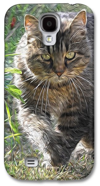 Green Galaxy S4 Cases - The Approaching Cat Galaxy S4 Case by Mary Lee Dereske