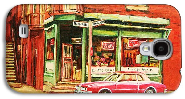 Montreal Storefronts Paintings Galaxy S4 Cases - The Arcadia Five And Dime Store Galaxy S4 Case by Carole Spandau