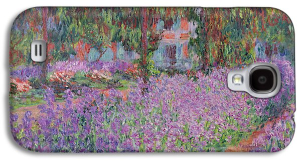 Purple Paintings Galaxy S4 Cases - The Artists Garden at Giverny Galaxy S4 Case by Claude Monet