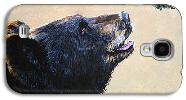 Wildlife Galaxy S4 Cases - The Bear and the Hummingbird Galaxy S4 Case by J W Baker