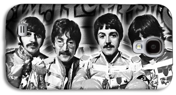 Ringo Starr Paintings Galaxy S4 Cases - The Beatles Sgt. Peppers Lonely Hearts Club Band Painting And Logo 1967 Black And White Galaxy S4 Case by Tony Rubino