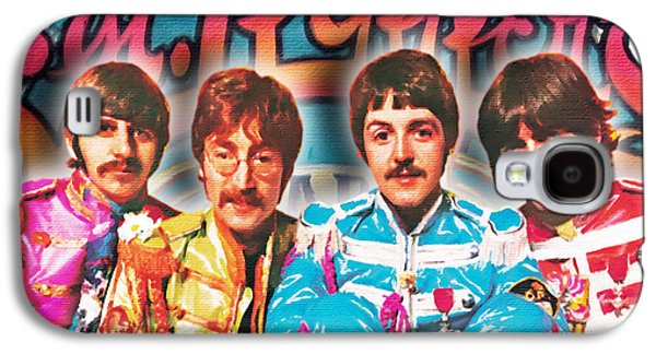 Ringo Starr Paintings Galaxy S4 Cases - The Beatles Sgt. Peppers Lonely Hearts Club Band Painting And Logo 1967 Color Galaxy S4 Case by Tony Rubino