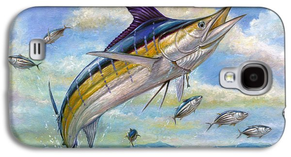 Marlin Galaxy S4 Cases - The Blue Marlin Leaping To Eat Galaxy S4 Case by Terry  Fox