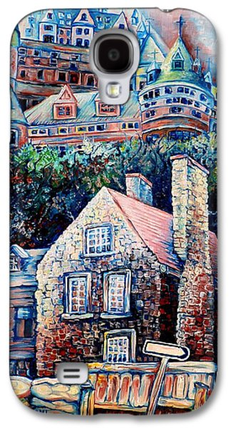 Quebec Streets Paintings Galaxy S4 Cases - The Chateau Frontenac Galaxy S4 Case by Carole Spandau