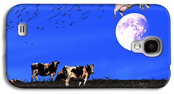 Cow Digital Galaxy S4 Cases - The Cow Jumped Over The Moon Galaxy S4 Case by Wingsdomain Art and Photography