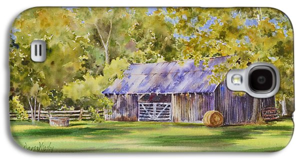 Haybales Paintings Galaxy S4 Cases - The Delaune Barn Galaxy S4 Case by Dana Mosby