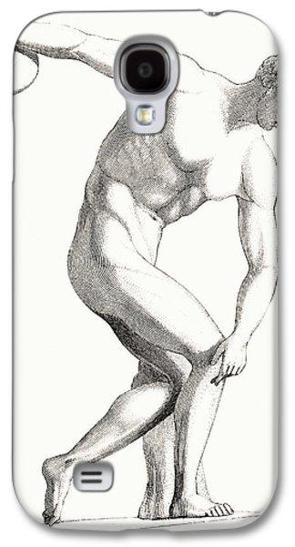 Greek Sculpture Galaxy S4 Cases - The Discobolus Of Myron. Greek Galaxy S4 Case by Vintage Design Pics