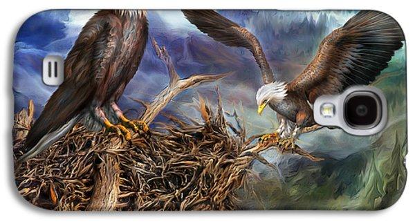 Eagle Mixed Media Galaxy S4 Cases - The Eagles Nest Galaxy S4 Case by Carol Cavalaris