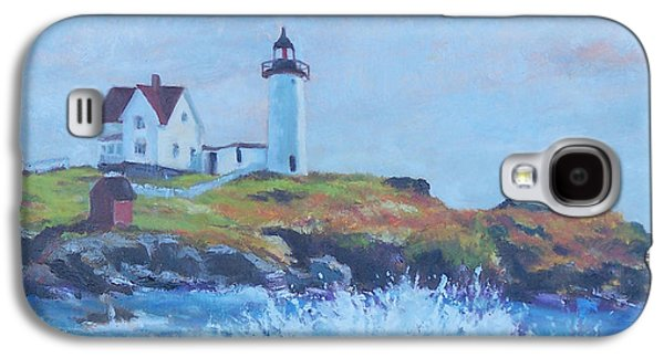 Nubble Lighthouse Paintings Galaxy S4 Cases - The End of Summer- Cape Neddick Maine Galaxy S4 Case by Alicia Drakiotes