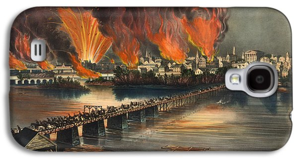 Historic Home Drawings Galaxy S4 Cases - The Fall Of Richmond On The Night Of April 2nd 1865 Galaxy S4 Case by Currier And Ives