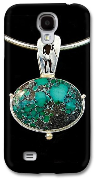 Silver Turquoise Jewelry Galaxy S4 Cases - The Find Of The Maasai Boy Galaxy S4 Case by Marie-Claire Dole