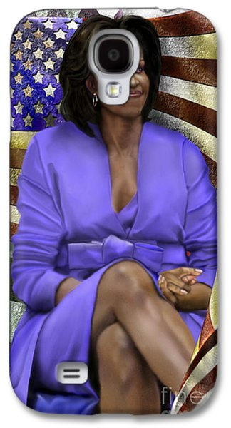Michelle Obama Paintings Galaxy S4 Cases - The First Lady-American Pride Galaxy S4 Case by Reggie Duffie