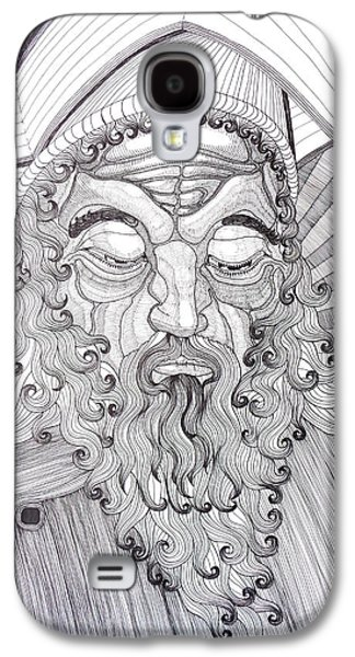 Religious Drawings Galaxy S4 Cases - The Fool The King Original Black and White Pen Art By Rune Larsen Galaxy S4 Case by Rune Larsen