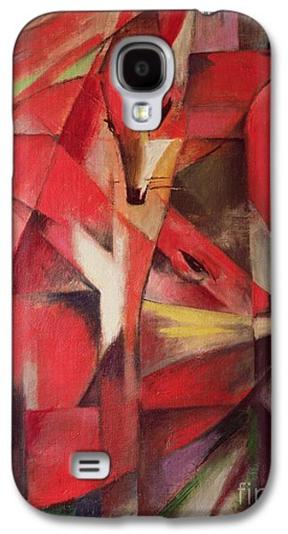 Red Abstract Paintings Galaxy S4 Cases - The Fox Galaxy S4 Case by Franz Marc