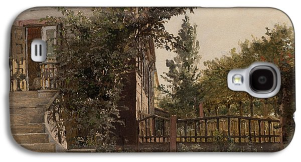 Staircase Paintings Galaxy S4 Cases - The Garden Steps Galaxy S4 Case by Christen Schjellerup Kobke
