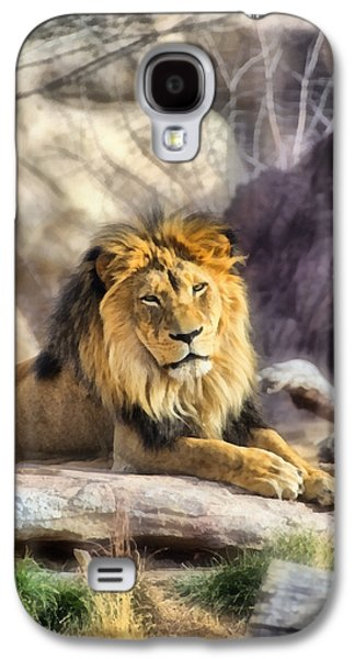 Lions Mixed Media Galaxy S4 Cases - The Golden King 3 Galaxy S4 Case by Angelina Vick