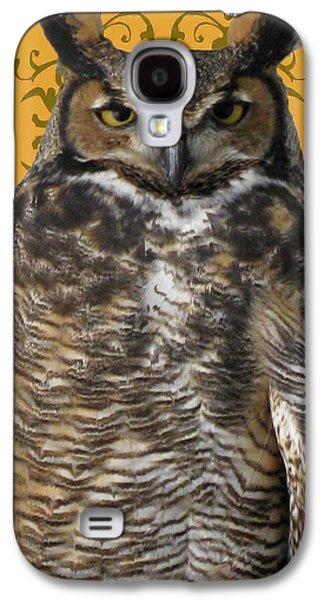 The View Mixed Media Galaxy S4 Cases - The Great Hored Owl Galaxy S4 Case by Debra     Vatalaro