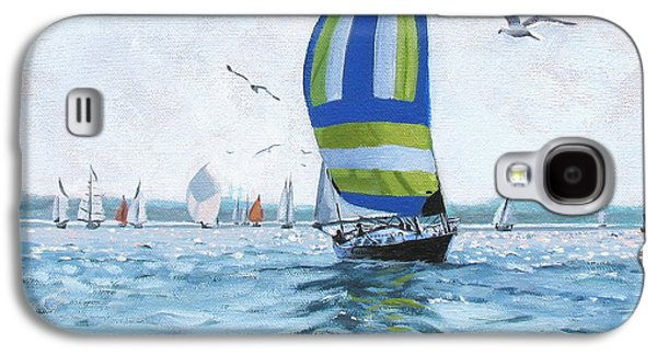 Boats In Water Paintings Galaxy S4 Cases - The Great Race 06 Galaxy S4 Case by Laura Lee Zanghetti