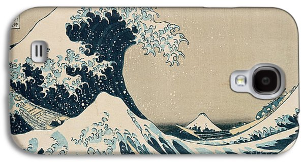 Text Galaxy S4 Cases - The Great Wave of Kanagawa Galaxy S4 Case by Hokusai