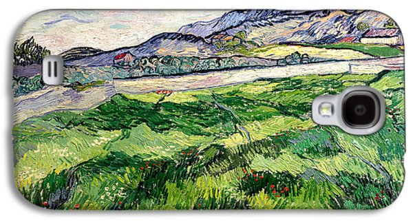 Field. Cloud Paintings Galaxy S4 Cases - The Green Wheatfield behind the Asylum Galaxy S4 Case by Vincent van Gogh